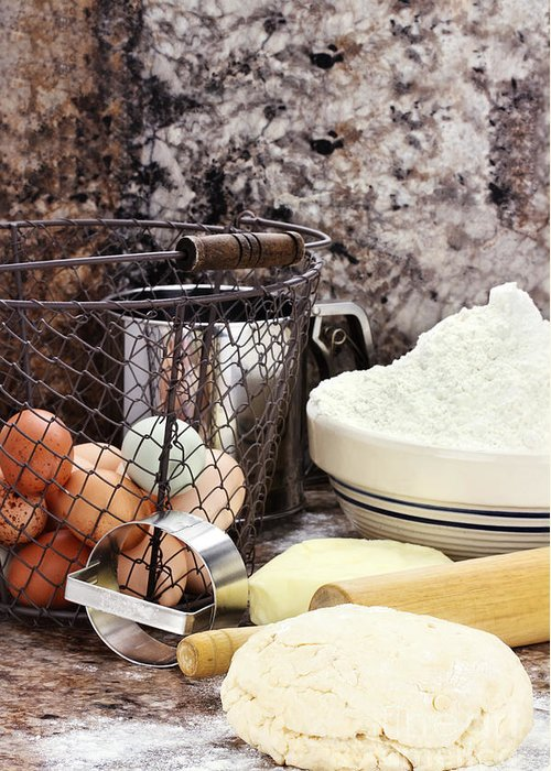 Dough Greeting Card featuring the photograph Bread Making by Stephanie Frey