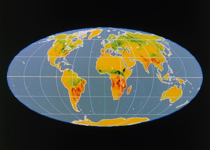 Breathing Earth Greeting Card featuring the photograph 'breathing Earth' Co2 Input/output, Global Map by Nasa