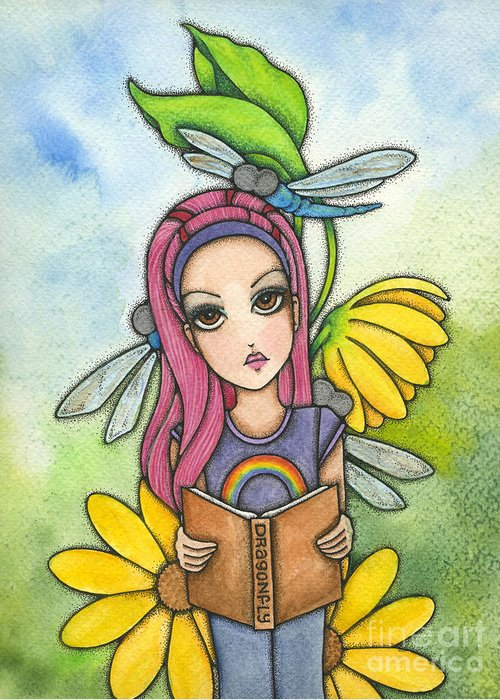 Girl Greeting Card featuring the painting Brianna's Dragonflies by Nora Blansett