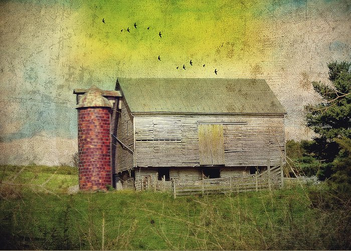 Farm Greeting Card featuring the photograph Brick Silo by Kathy Jennings