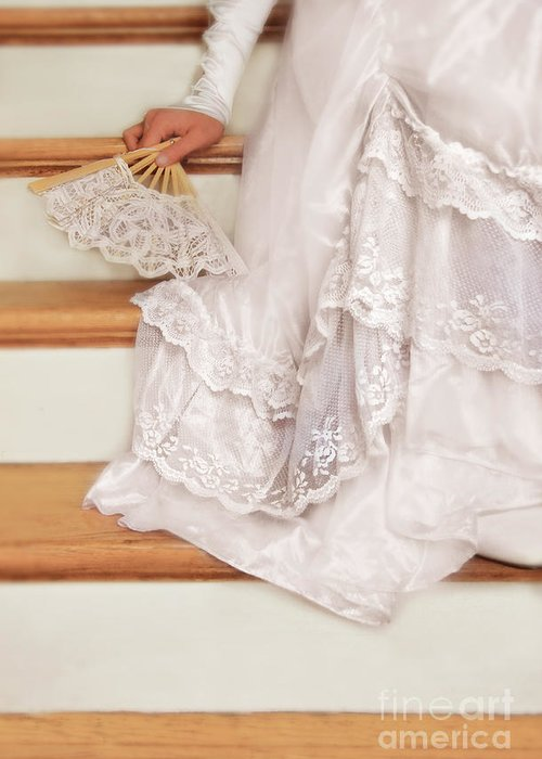 Bride Greeting Card featuring the photograph Bride Sitting On Stairs With Lace Fan by Jill Battaglia