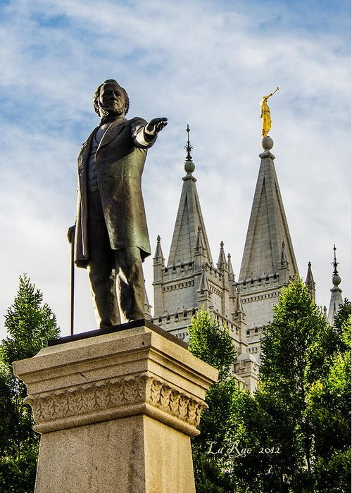 Mormon Temple Photography Greeting Card featuring the photograph Brigham's Slc Temple by La Rae Roberts