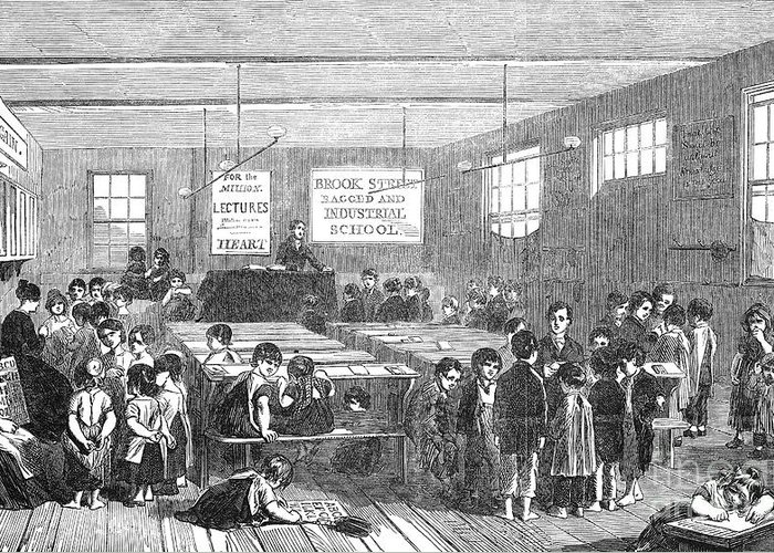 1853 Greeting Card featuring the photograph British Ragged School by Granger
