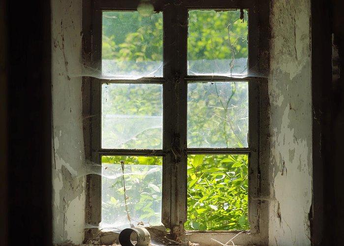 Windows Greeting Card featuring the photograph Broken Window. by Bernard Jaubert