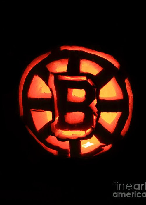 Bruins Greeting Card featuring the photograph Bruins Carved Pumpkin by Lloyd Alexander