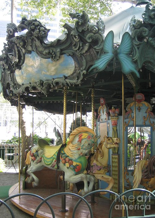 Amusement Greeting Card featuring the photograph Bryant Park Carousel by Blanche Knake