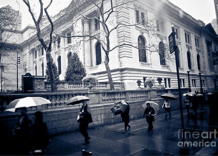 New York Greeting Card featuring the photograph Bryant Park Umbrella Runway by Chandra Dee