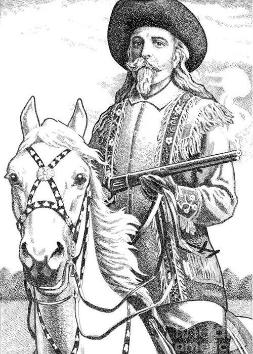 Jim Bridger Greeting Card featuring the drawing Buffalo-bill-cody by Gordon Punt