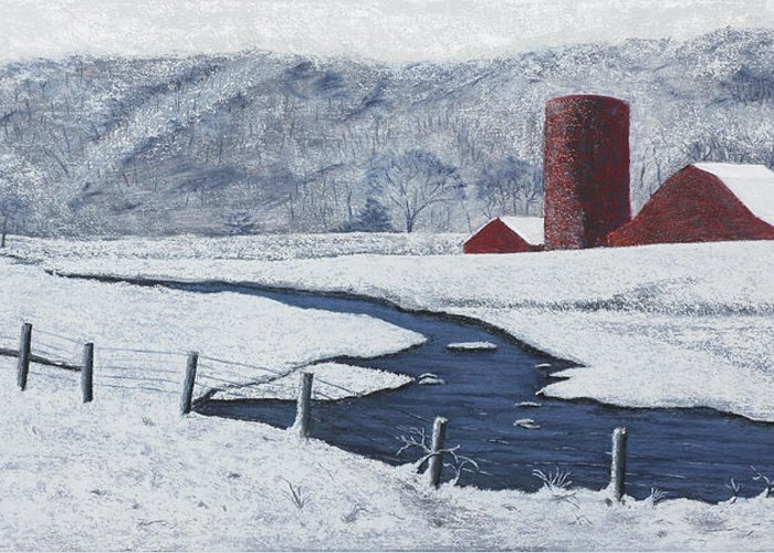 Arkansas Greeting Card featuring the painting Buffalo River Valley In Snow by Garry McMichael