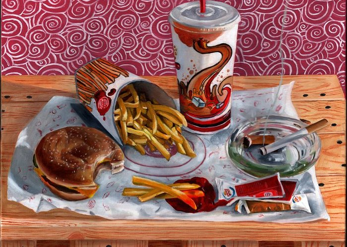 Still Life Greeting Card featuring the painting Burger King Value Meal No. 3 by Thomas Weeks