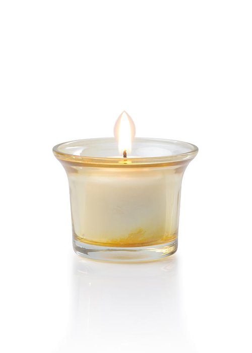 Candle Greeting Card featuring the photograph Burning Candle by Atiketta Sangasaeng