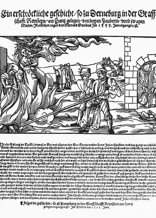 1555 Greeting Card featuring the photograph Burning Of Witches, 1555 by Granger