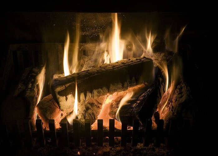 Air Pollution Greeting Card featuring the photograph Burning Wood On An Open Fire by Sheila Terry
