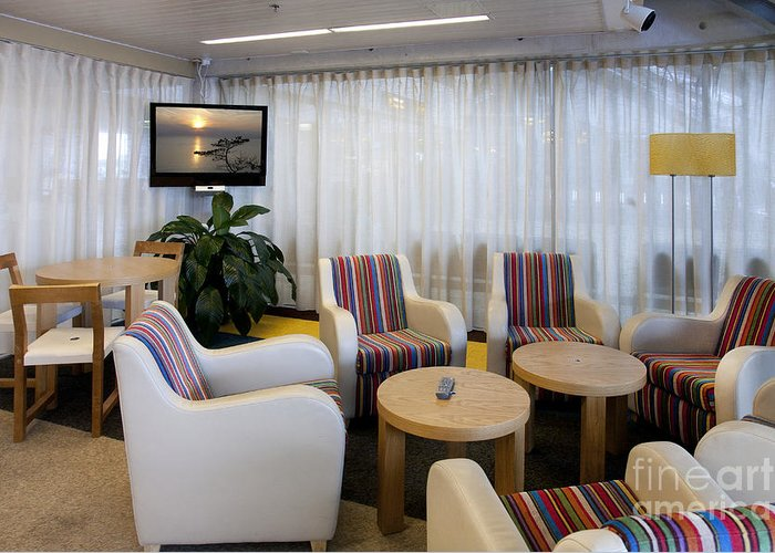 Air Travel Greeting Card featuring the photograph Business Lounge At An Airport by Jaak Nilson
