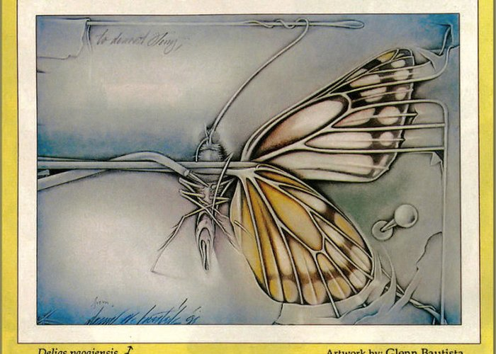 Butterfly Greeting Card featuring the drawing Butterflycomp 1991 B by Glenn Bautista