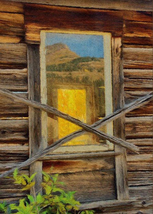 Cabin Greeting Card featuring the painting Cabin Windows by Jeff Kolker