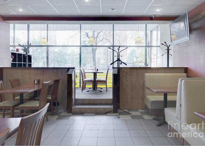 Booths Greeting Card featuring the photograph Cafe Dining Room by Magomed Magomedagaev
