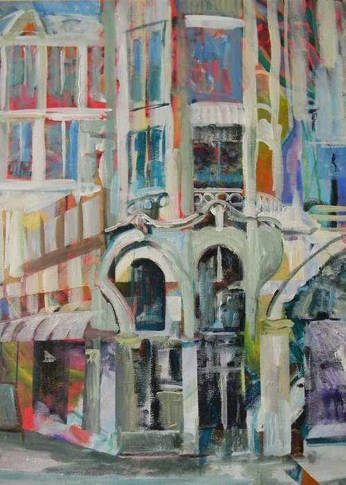 Cafe Greeting Card featuring the painting Cafe In Paris by Carol Mangano
