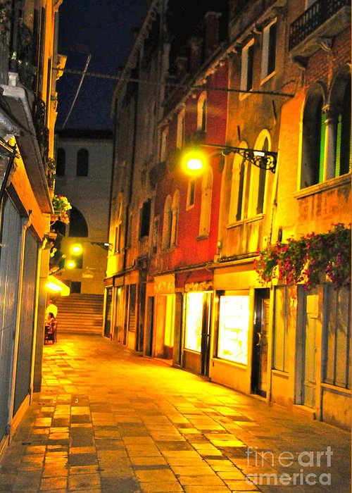 Cafe Greeting Card featuring the digital art Cafe In Venice by Alberta Brown Buller