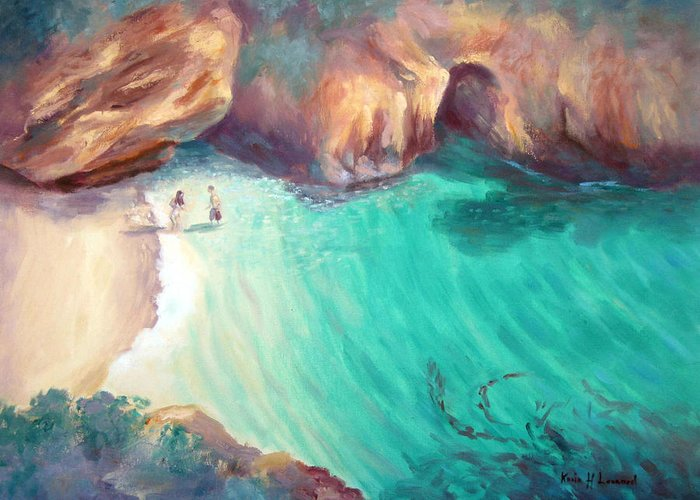 Romantic Ocean Painting Greeting Card featuring the painting California Dreaming by Karin Leonard