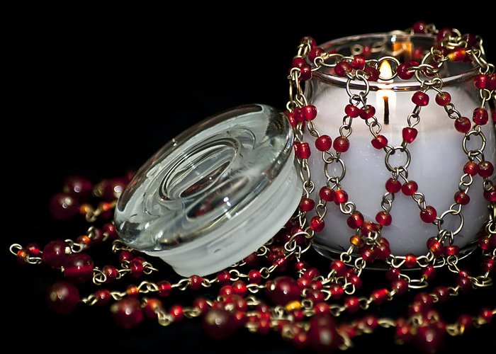 Candle Greeting Card featuring the photograph Candle And Beads by Carolyn Marshall