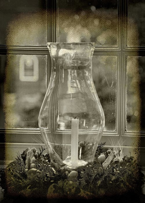 Decorative Greeting Card featuring the photograph Candle And Window by Steven Ainsworth