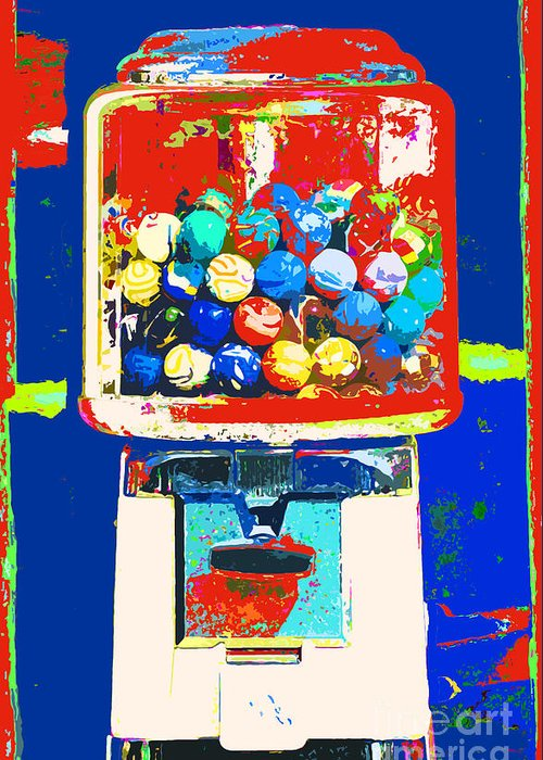 Anahi Decanio Greeting Card featuring the mixed media Candy Machine Pop Art by ArtyZen Kids