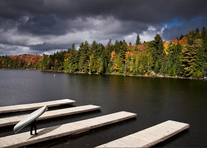 Canoe Greeting Card featuring the photograph Canoe Lake by Cale Best