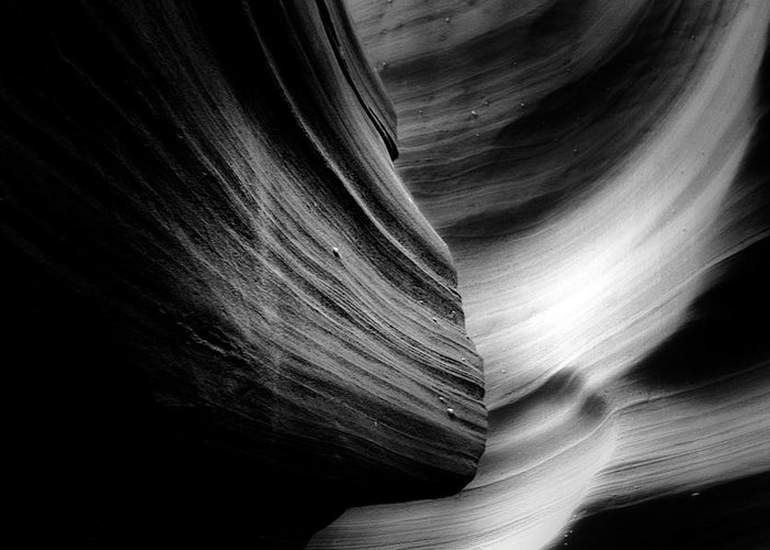 Southwest Greeting Card featuring the photograph Canyon Curves In Black And White by Christine Till