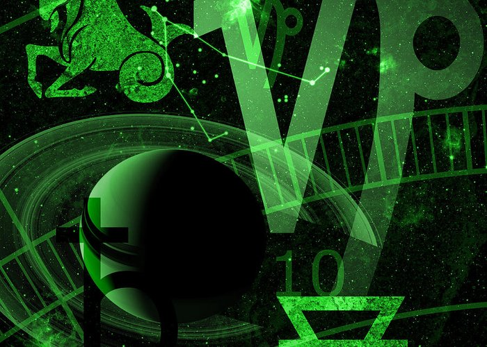 Horoscope Greeting Card featuring the digital art Capricorn by JP Rhea