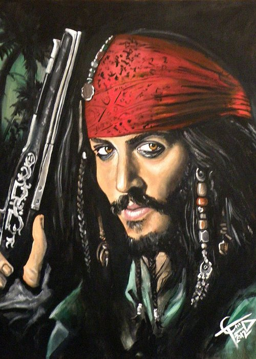 Johnny Depp Greeting Card featuring the painting Captain Jack Sparrow by Tom Carlton