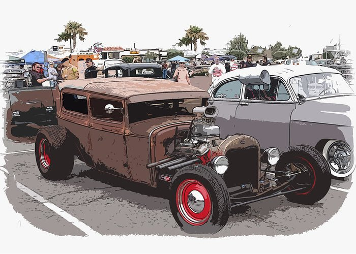 Model A Sedan Greeting Card featuring the photograph Car Show 1928 by Steve McKinzie
