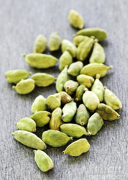 Cardamom Greeting Card featuring the photograph Cardamom Seed Pods by Elena Elisseeva
