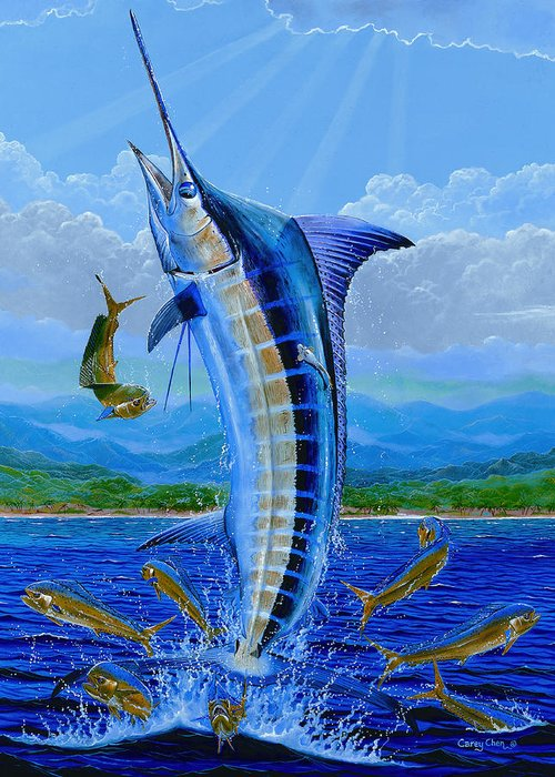 Marlin Greeting Card featuring the painting Caribbean Blue by Carey Chen