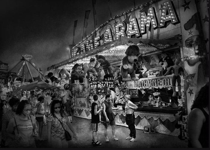 Hdr Greeting Card featuring the photograph Carnival - Game-a-rama by Mike Savad