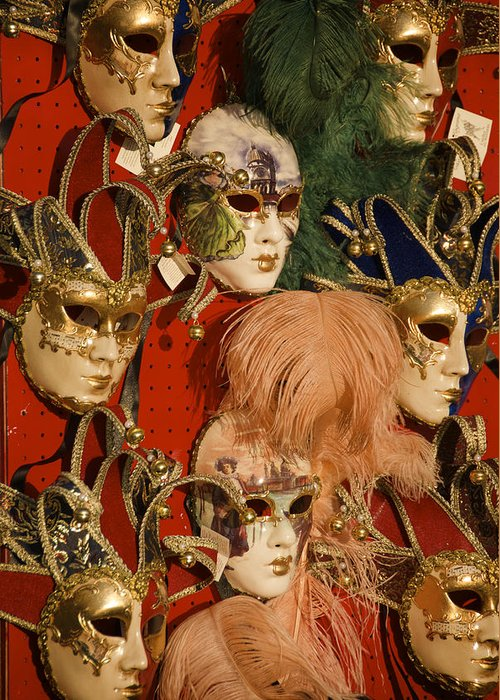 Color Image Greeting Card featuring the photograph Carnival Masks For Sale by Jim Richardson