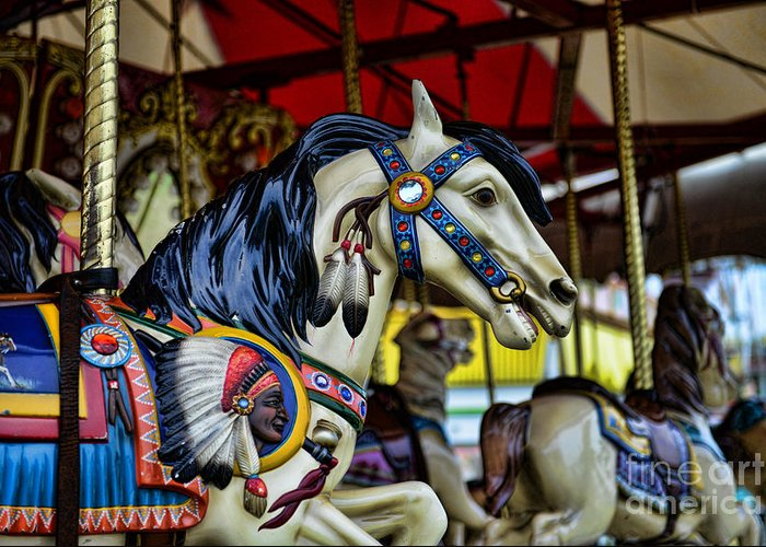 Carousel Greeting Card featuring the photograph Carousel Horse 6 by Paul Ward