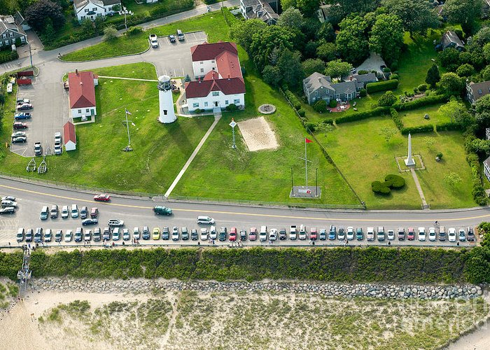 Aerial Greeting Card featuring the photograph Cars Line Up At The Parking Lot At Chatham Lighthouse And Chatha by Matt Suess