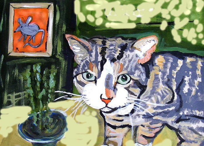 Animals Greeting Card featuring the painting Cat And Mouse Friends by Patricia Lazar