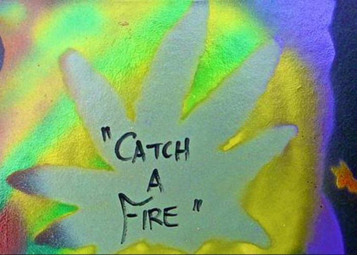 Hip Hop Greeting Card featuring the painting Catch A Fire by Tony B Conscious