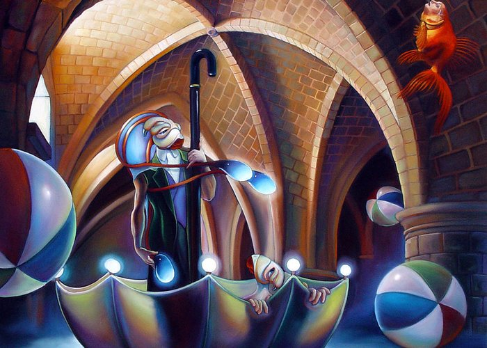 Umbrella Greeting Card featuring the painting Caverna Magica by Patrick Anthony Pierson