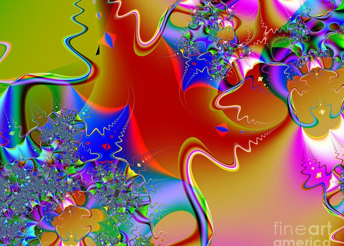 Fractal Greeting Card featuring the digital art Celebration . S16 by Wingsdomain Art and Photography