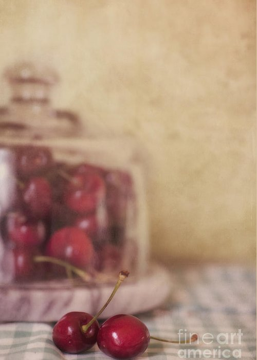 Cherry Greeting Card featuring the photograph Cerise by Priska Wettstein