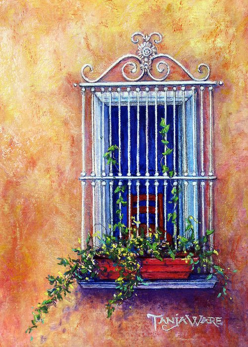 Window Greeting Card featuring the painting Chair In The Window by Tanja Ware