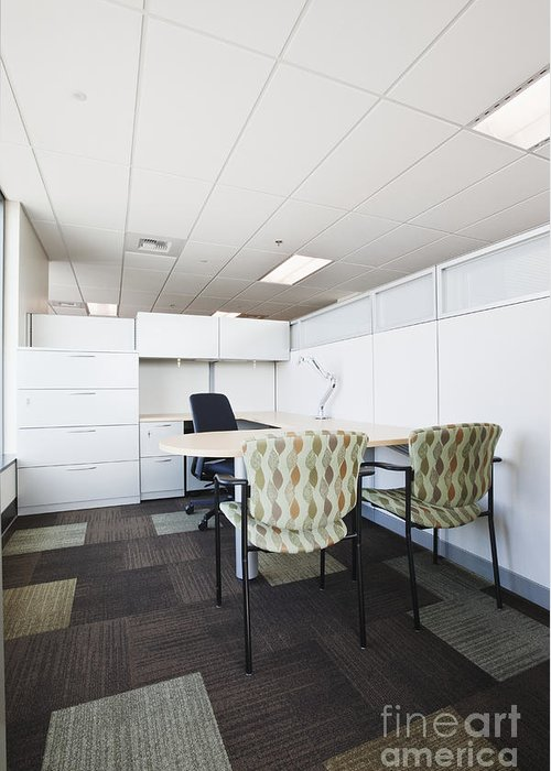 Architecture Greeting Card featuring the photograph Chairs And Desk In Office Cubicle by Jetta Productions, Inc