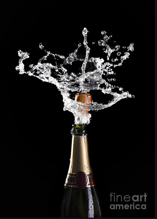 Champagne Greeting Card featuring the photograph Champagne Cork Explosion by Gualtiero Boffi