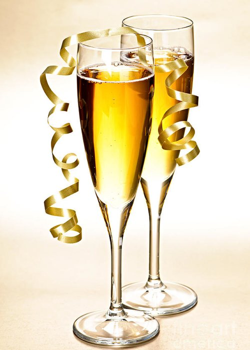 Champagne Greeting Card featuring the photograph Champagne Glasses by Elena Elisseeva