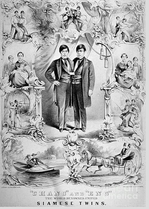 History Greeting Card featuring the photograph Chang And Eng Bunker, The Original by Science Source
