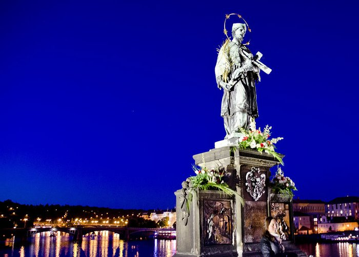 Charles Bridge Greeting Card featuring the photograph Charles Bridge Statue Of St John Of Nepomuk   by Jon Berghoff