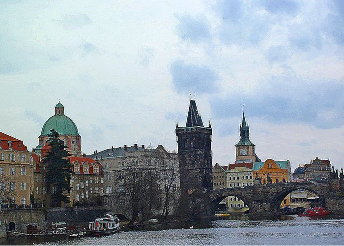 Prague Digital Art Greeting Card featuring the digital art Charles Street Bridge And Old Town Prague by Paul Pobiak